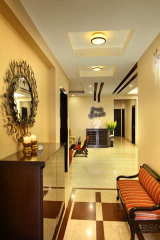 The interior design of Park View Spa Apartment hall