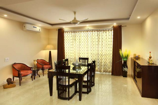 The interior design of Park View Spa Apartment dining room