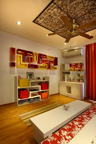 bookshelves Interior design of Vatika City apartment