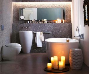 luxury bathroom with candle decoration