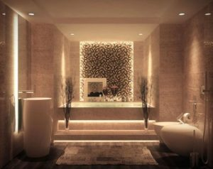 bathroom interior decor with touch of planters