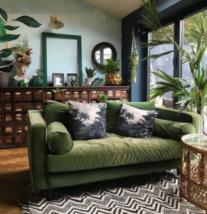 Wooden furniture or flooring having organic interior design touched