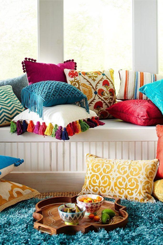 furniture piece or a flower pillows