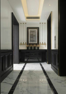 corridor wall design with console