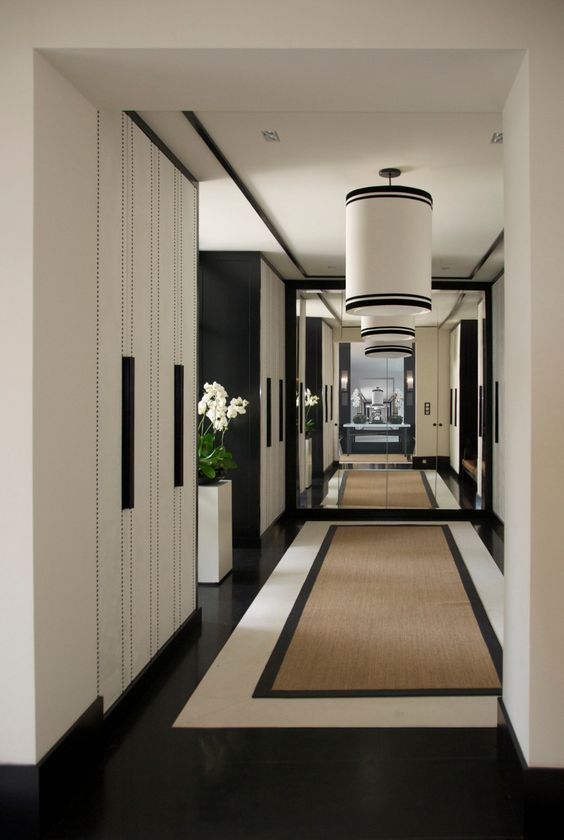 corridor wall design with celling lights
