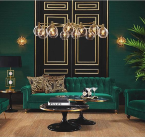 gold or brass lamp bases with green shades interior ideas